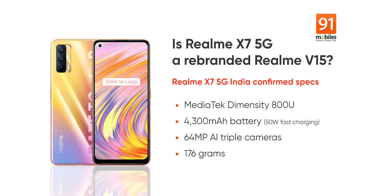 Realme X7 5G India variant specifications will be similar to Realme V15 |  91mobiles.com