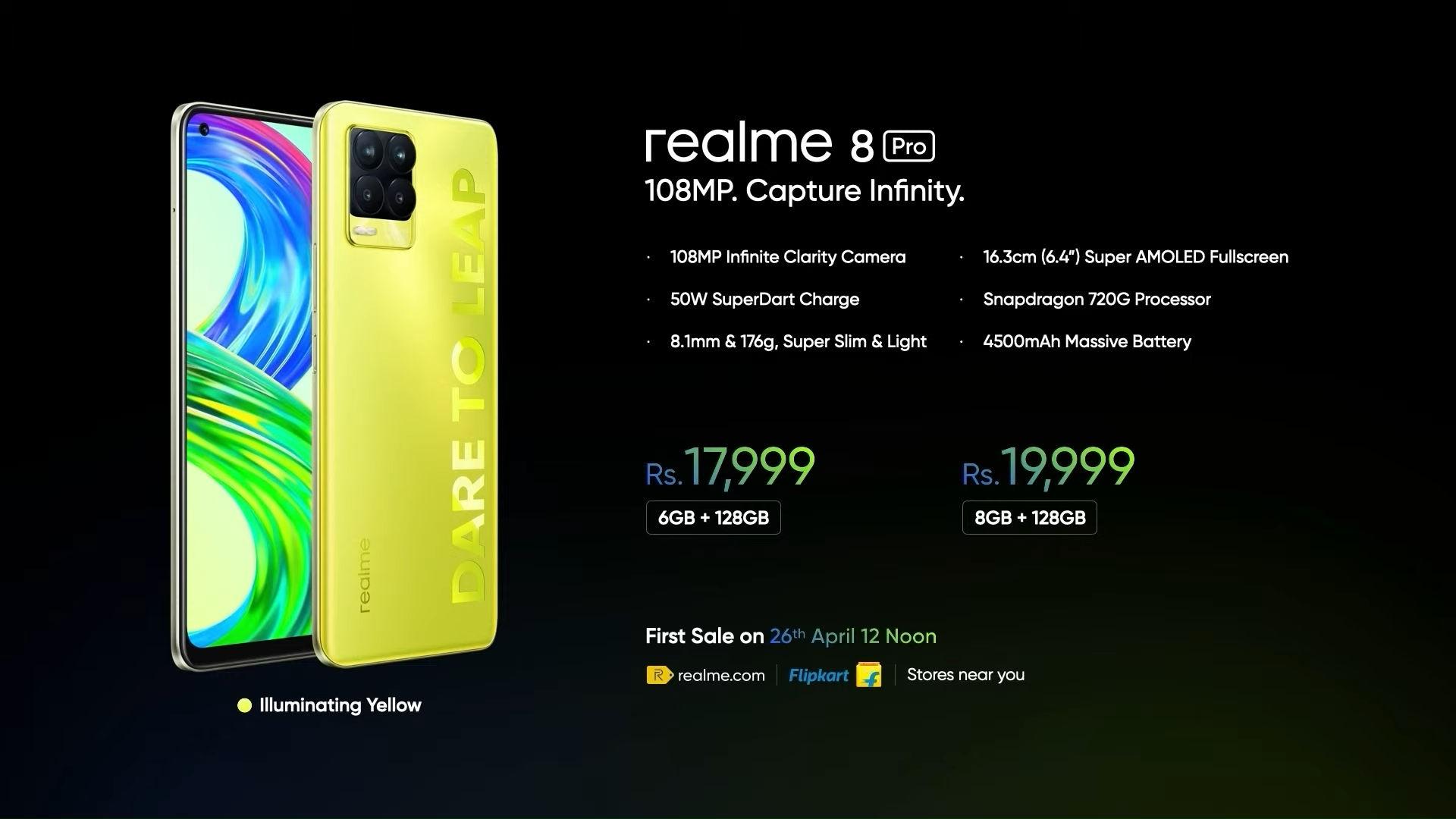 Realme_8_Pro_Illuminating_Yellow_color_price_India_avucation_details