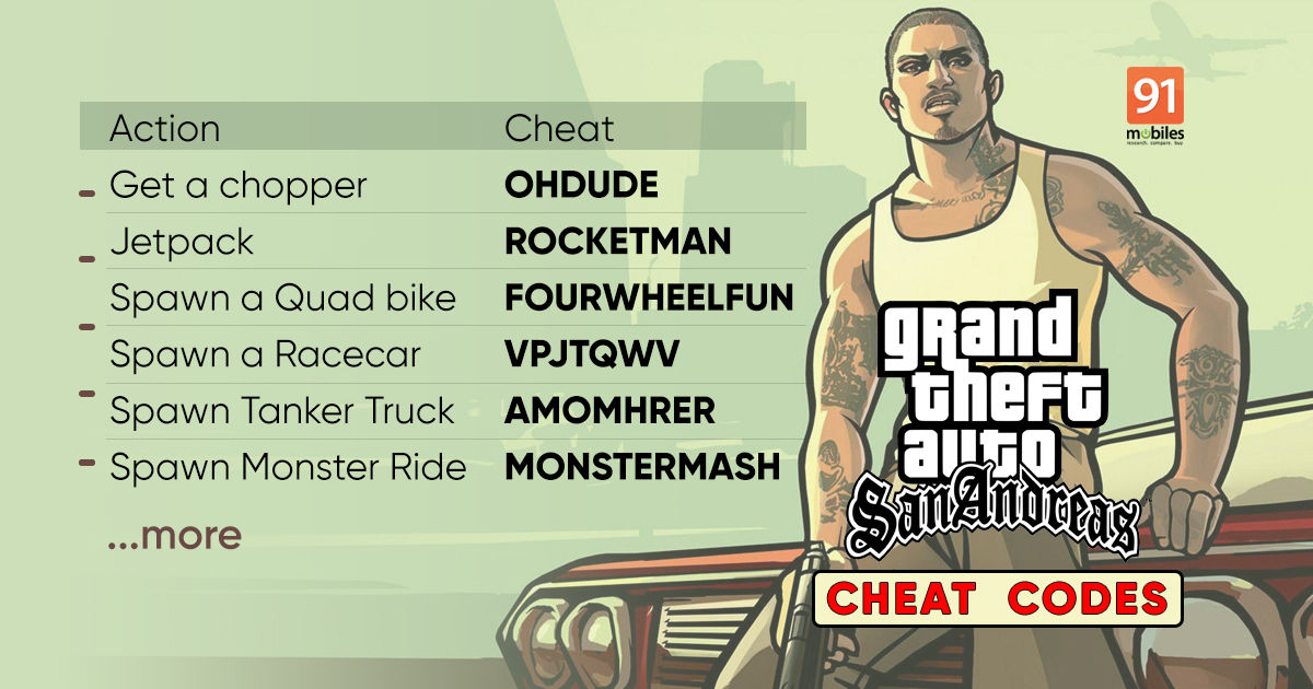 GTA San Andreas cheats for bikes, automotive, helicopter, tank, and extra: Right here's the entire record