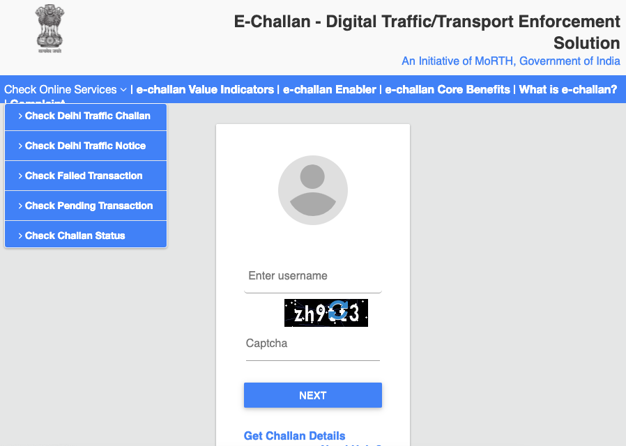 how to check traffic challan status