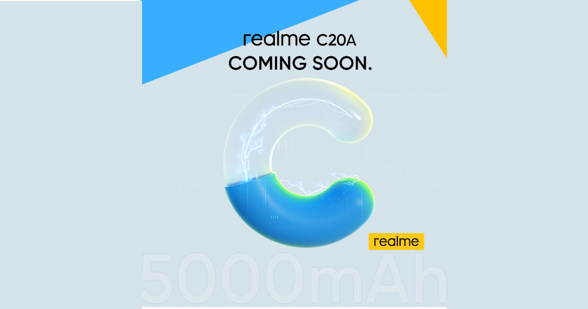 Realme C20A launch date formally revealed, key specs teased
