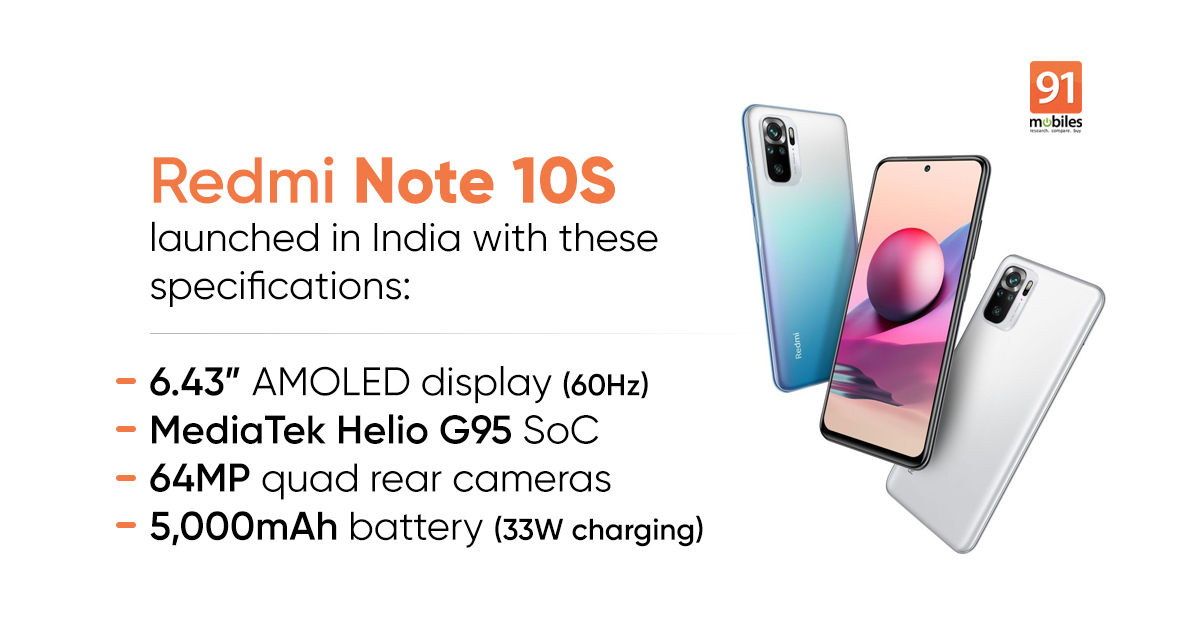 Redmi Note 10S launched in India with 64MP camera, AMOLED display, MIUI 12.5: price, specifications