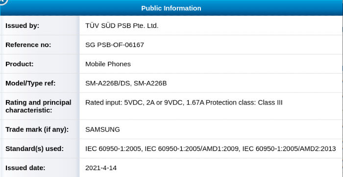 Samsung Galaxy A22 5G TUV