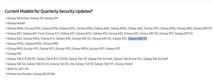 Samsung Galaxy A82 5G listed on the company's update tracking page ahead of launch