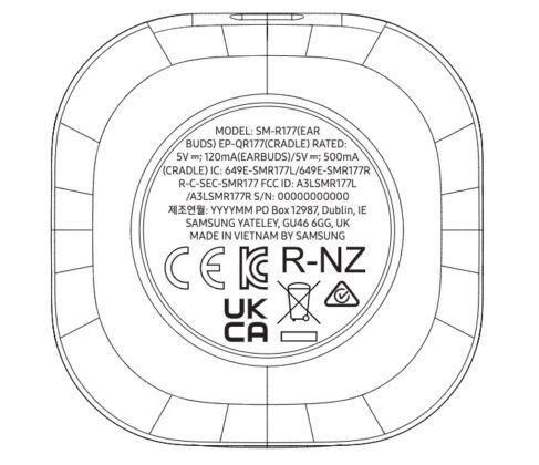 Samsung Galaxy Buds 2 (SM-R177) FCC label Image