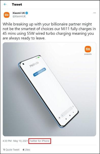 Xiaomi UK Tweet