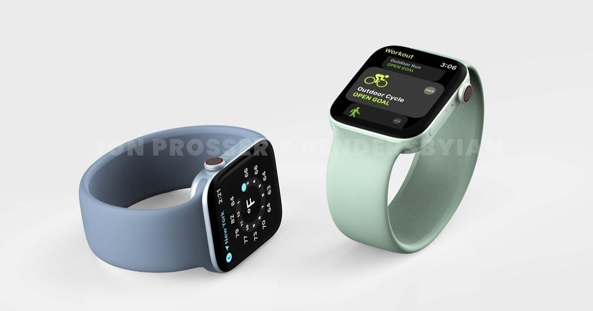 Apple Watch Collection 7 renders counsel main redesign: flat edges, new colors, and extra