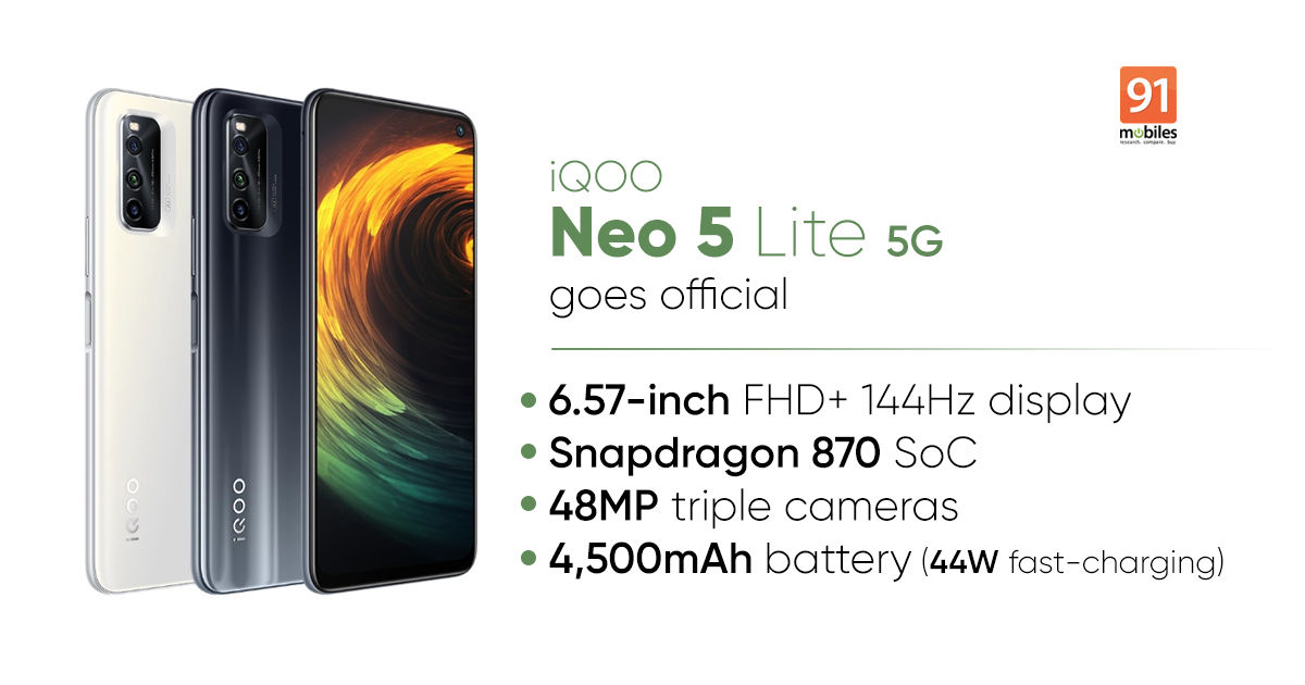 iQOO Neo 5 Lite 5G launched with Snapdragon 870: worth, specs