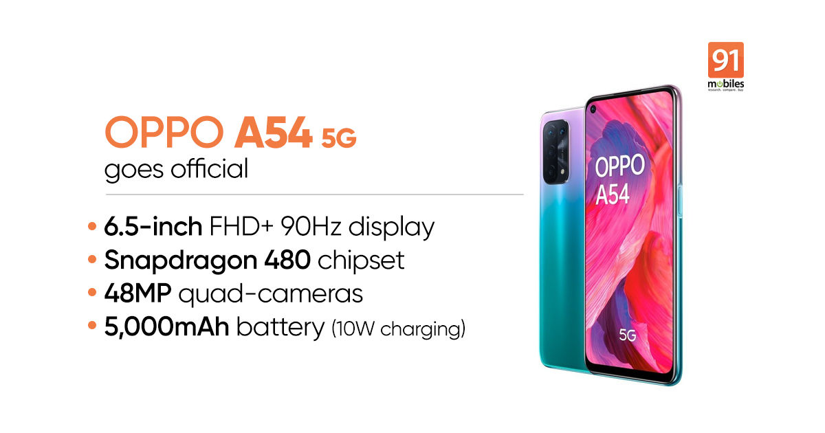 OPPO A54 5G with Snapdragon 480 SoC, 48MP digital camera, 5,000mAh battery launched: value, specs