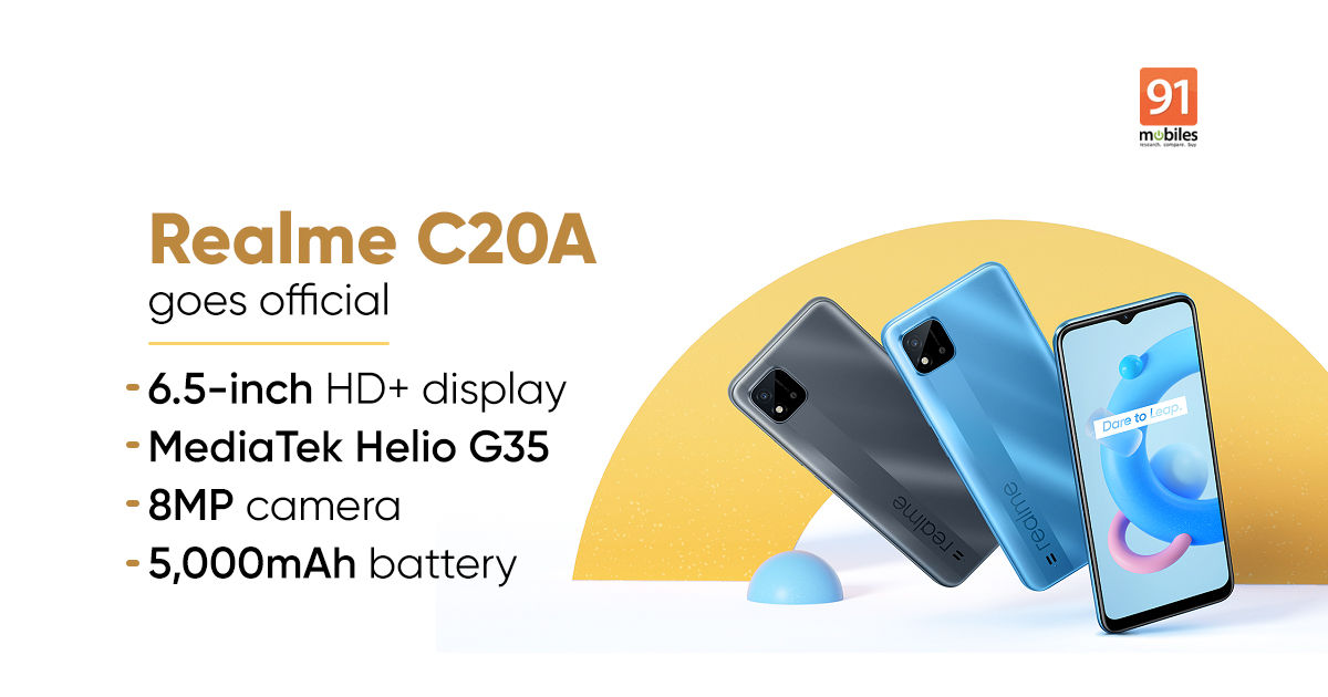 Realme C20A with 5,000mAh battery, 6.5-inch HD+ show launched: value, specs