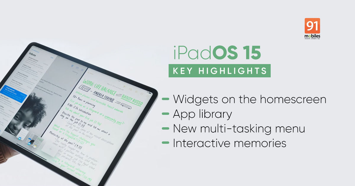 iPadOS 15 introduced with dwelling display screen widgets, improved multitasking, and extra