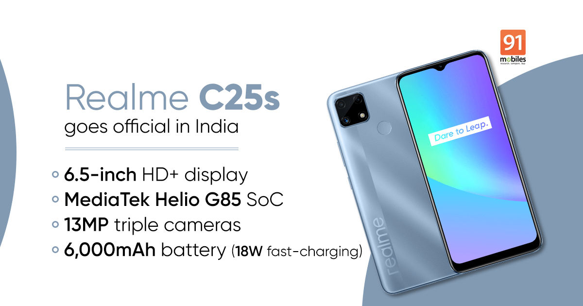 Realme C25s launched in India with MediaTek Helio G85, 6,000mAh battery: worth, specs