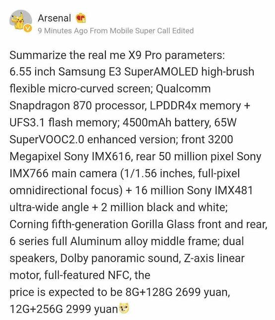 Realme X9 Pro especificações e preço