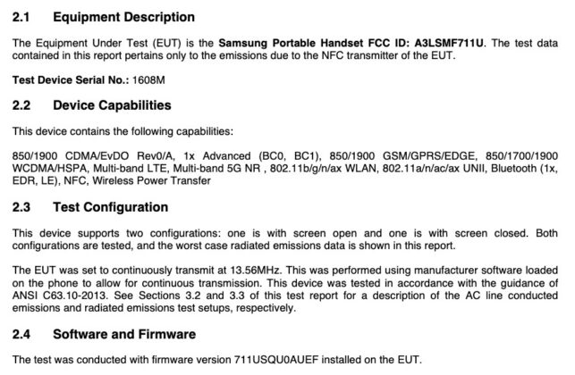 Samsung Galaxy Z Flip 3 FCC