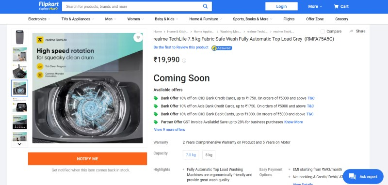 Realme 7.5kgs washing machine