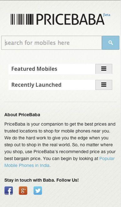 PriceBaba Home Mobile RWD