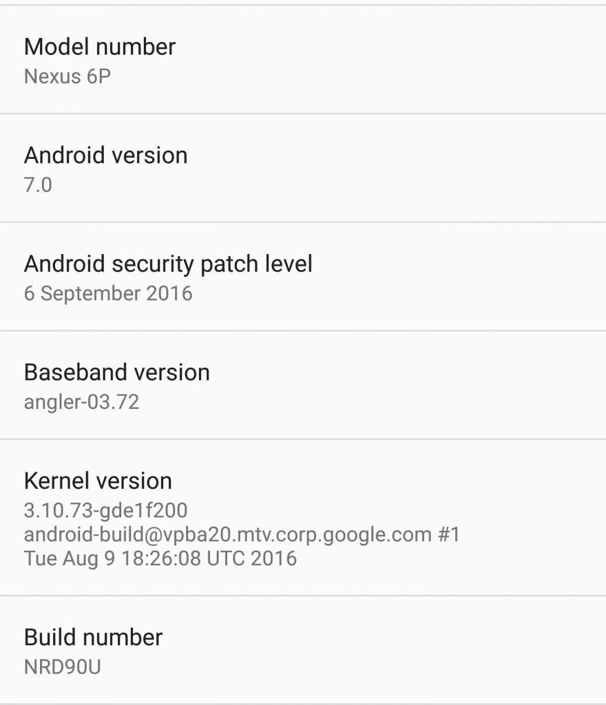 Android Nougat NRD90U