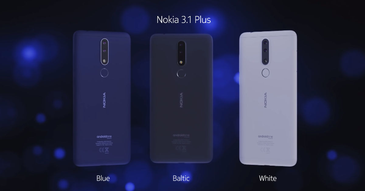 Nokia 3.1 Plus color editions