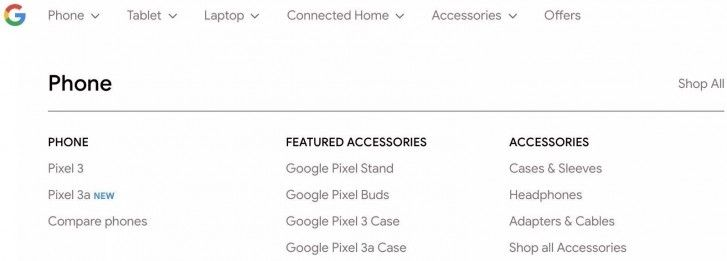 Google Pixel 3a Google Store Listing
