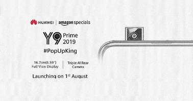 HUawei Y9 Prime 2019 August 1 India launch