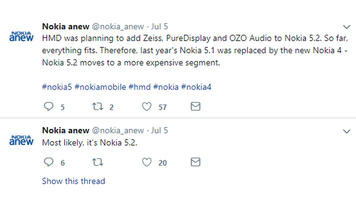 Nokia 5.2 Tweet