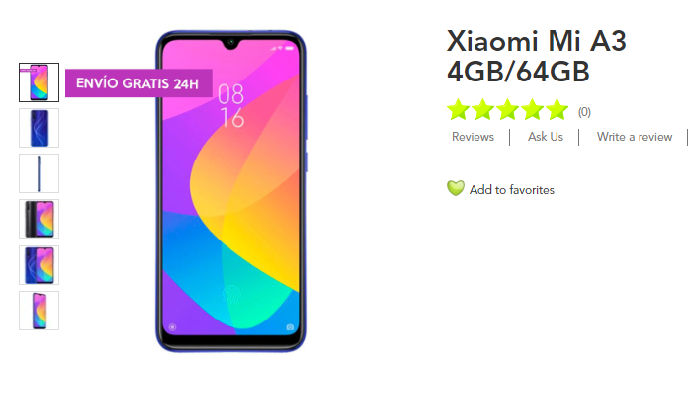 Xiaomi Mi A3 listing on Spainish retailer site