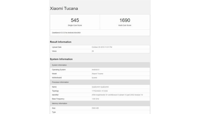 Xiaomi Mi CC9 Pro Geekbench