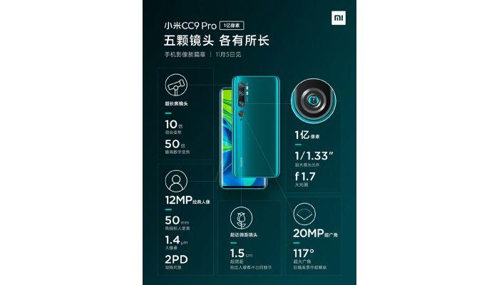 Xiaomi Mi CC9 Pro camera details
