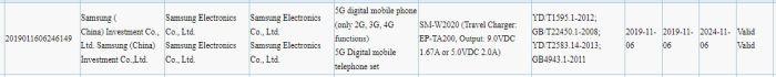Samsung SM-W2020 3C