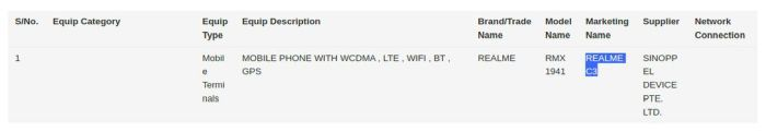 Realme C3 RMX9141 IMDA certified