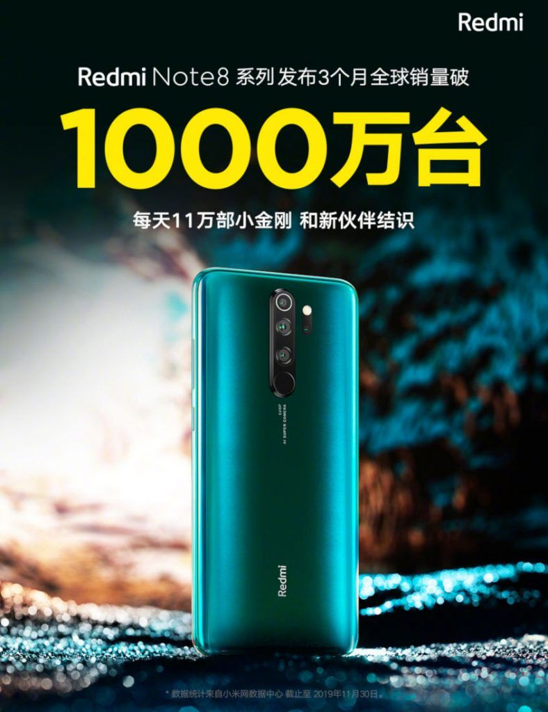 redmi note 8 series 10 million sales crossed