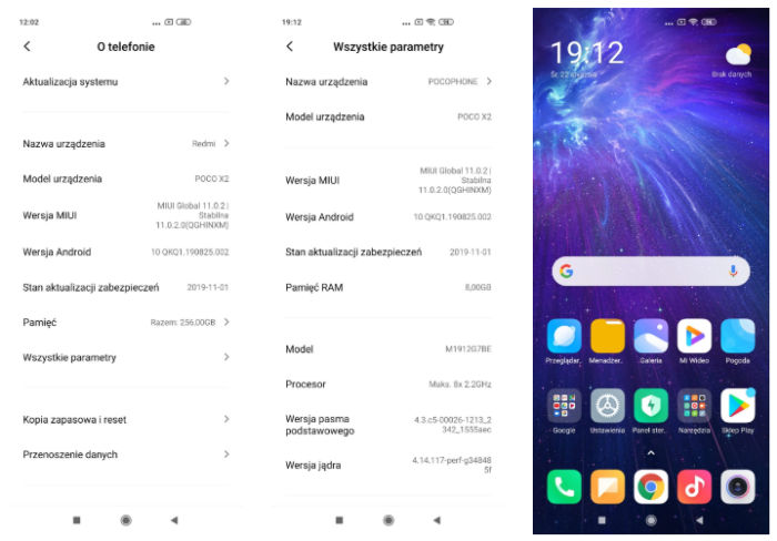 Screenshots taken from alleged POCO X2 phone