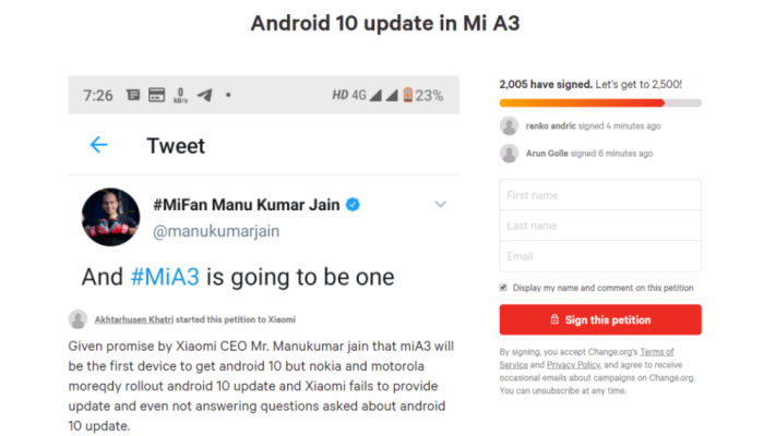 Petition over Android 10 delay for XIaomi Mi A3