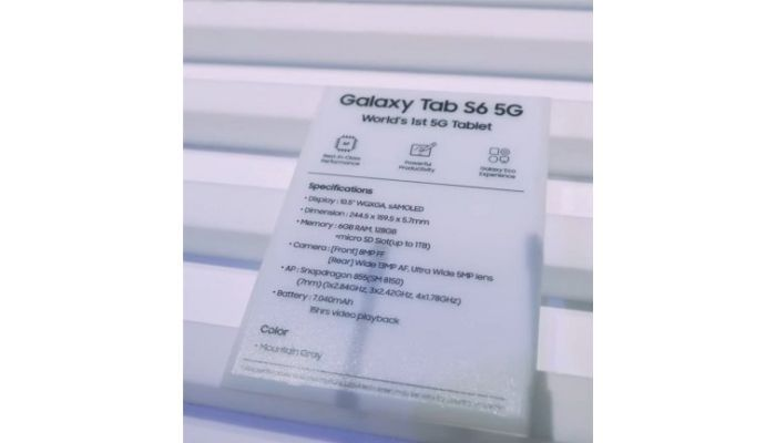 Samsung Galaxy Tab S6 5G specifications leaked ahead of launch