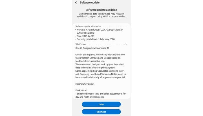 Samsung Galaxy A70s Android 10 update