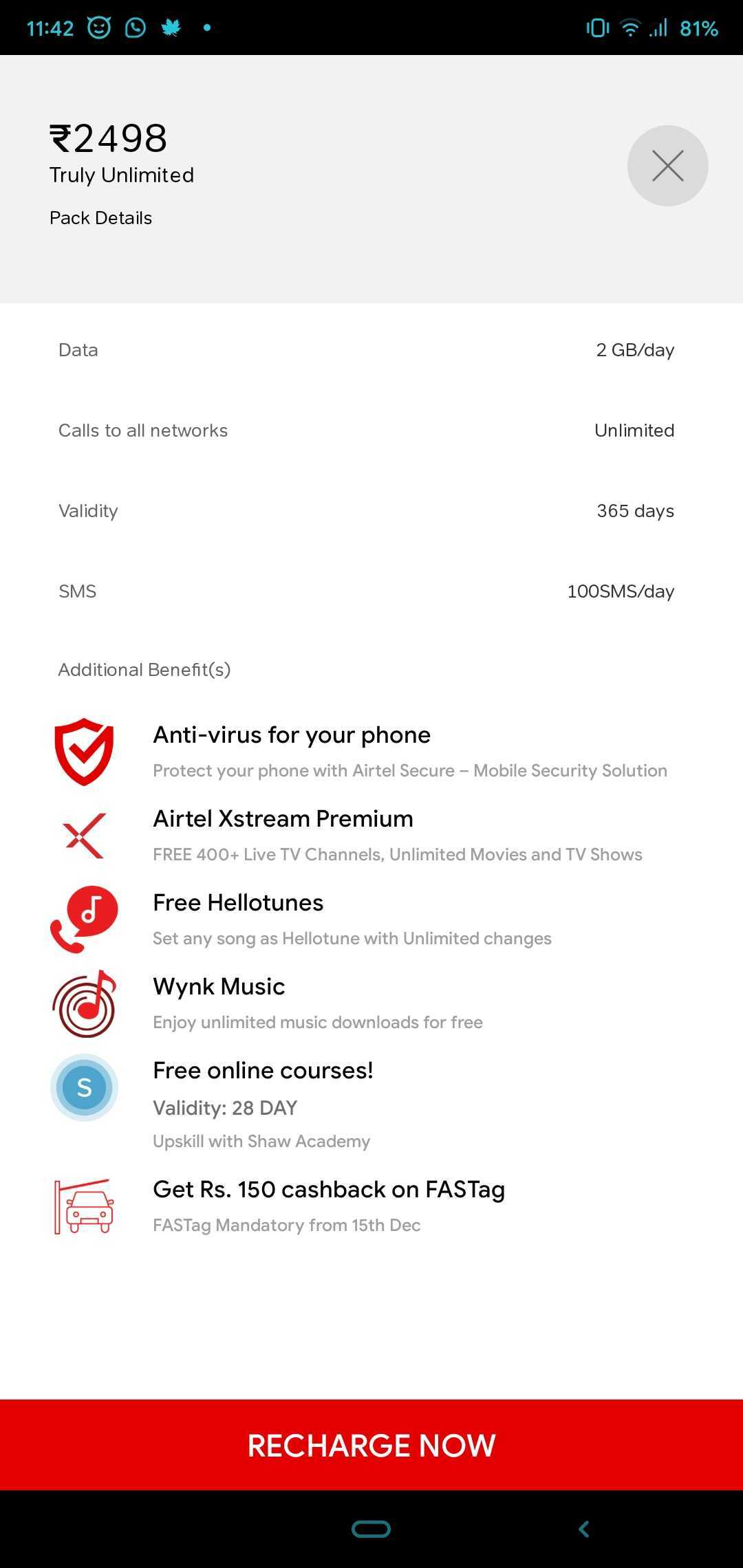 The new Airtel Rs 2,498 'Truly Unlimited' annual plan offers unlimited Local, STD & Roaming calls on any network within India