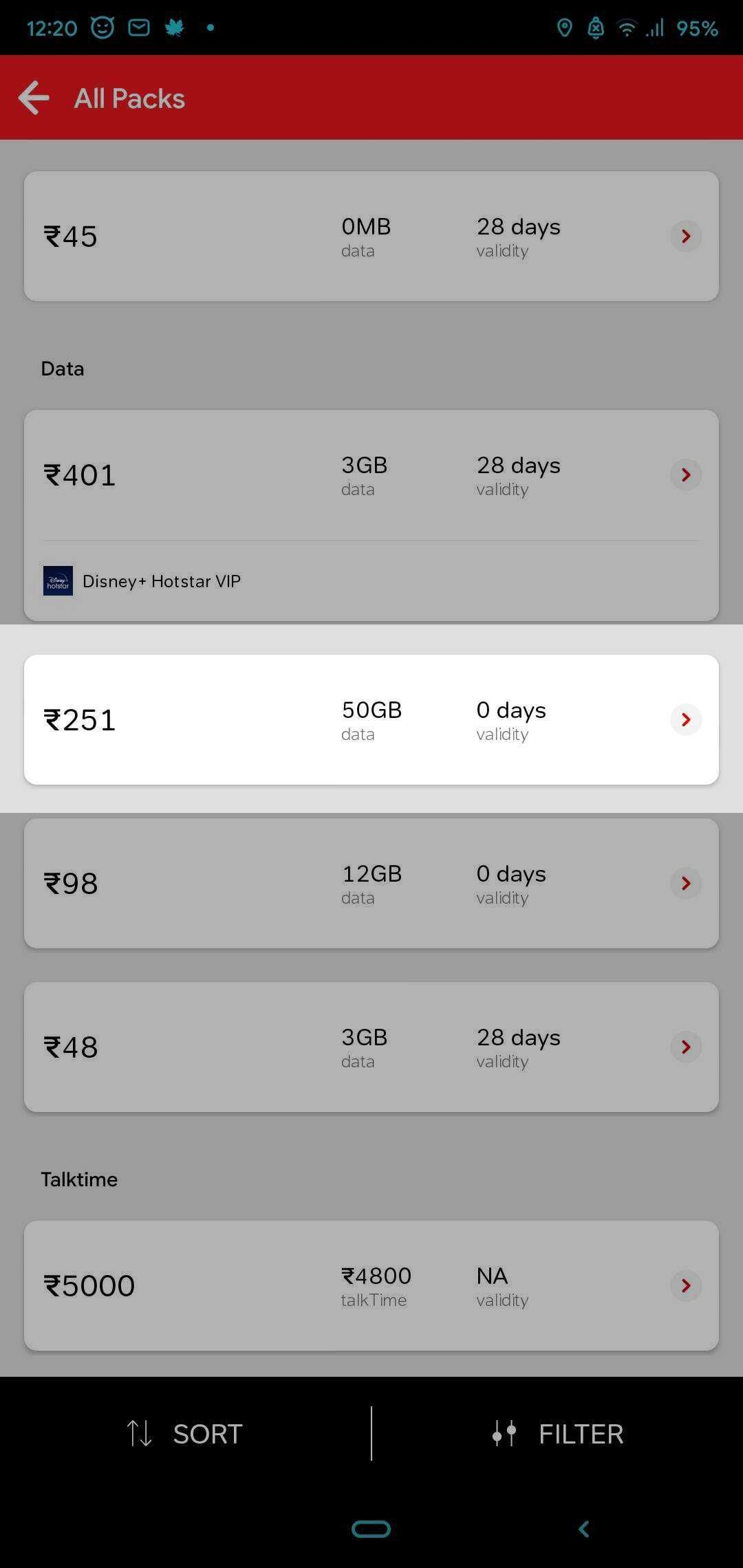 The Airtel Rs 251 plan offers 50GB data over and above allotted data of the base plan