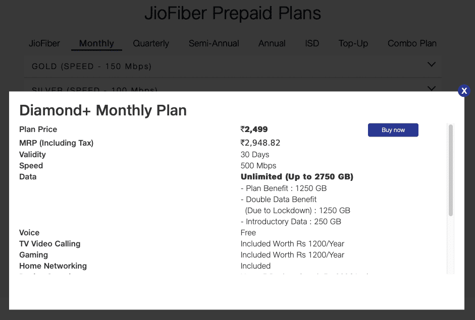 The Diamond Plus Jio Fiber plan offers double data benefits and more