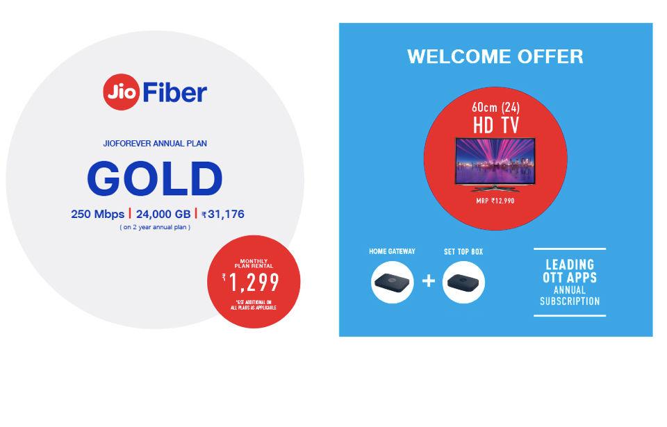 تكلف خطة Jio Fibre Gold 1،299 روبية شهريًا و 31،176 روبية سنويًا