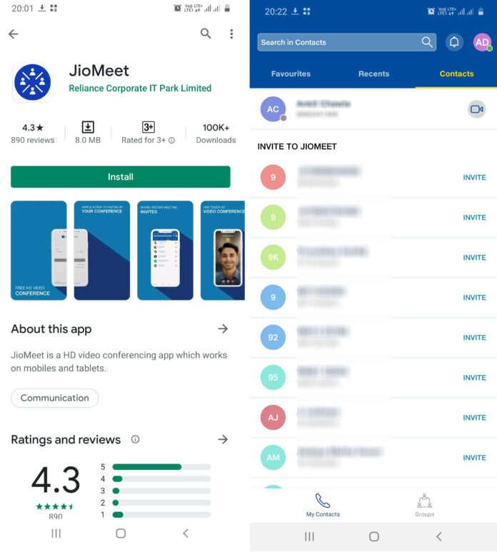 Reliance JioMeet app allows 100 participants in a video call