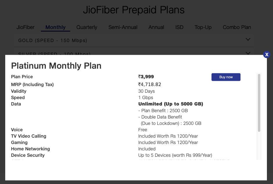 The Platinum Jio Fiber Plan offers 1Gbps speeds