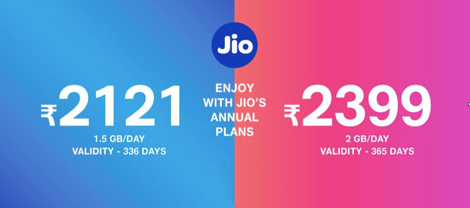 Reliance's new Rs 2,399 plan offers 2GB data per day for a year