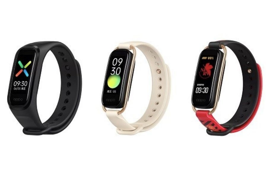 OPPO band on the left, OPPO Band fashion in the middle and OPPO Band Eva on the right
