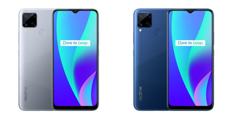 Realme C15 Power Silver and Power Blue