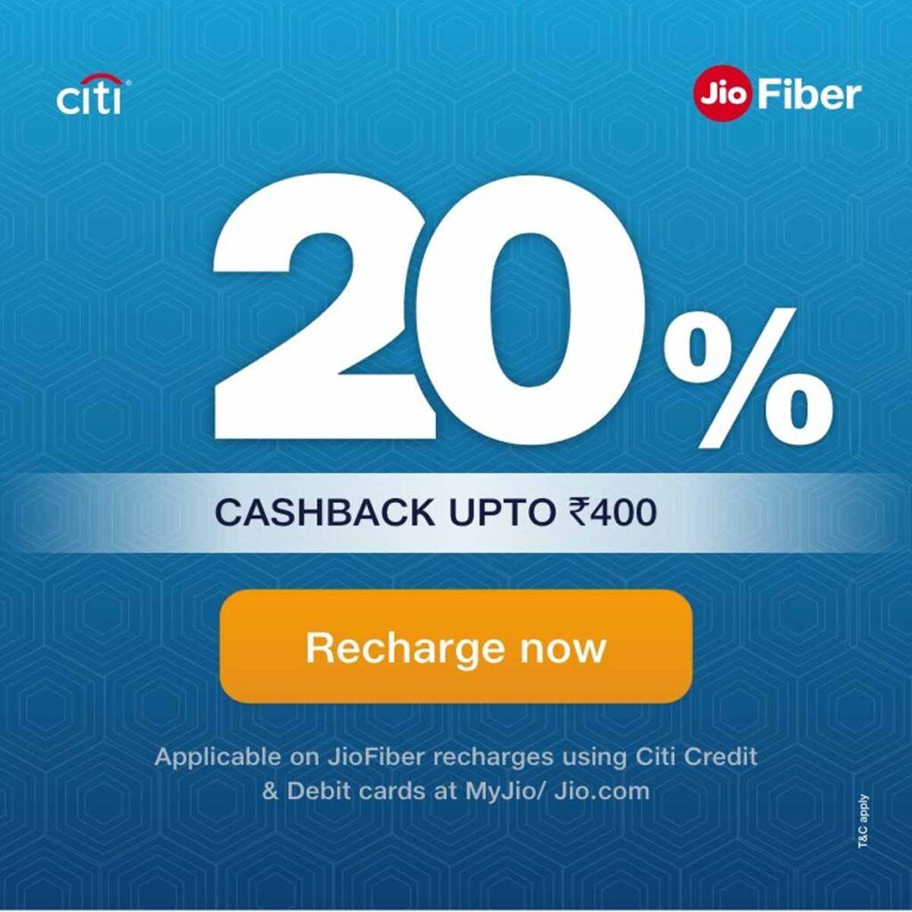 Reliance JioFiber is offering up to Rs 400 cashback to Citibank card users