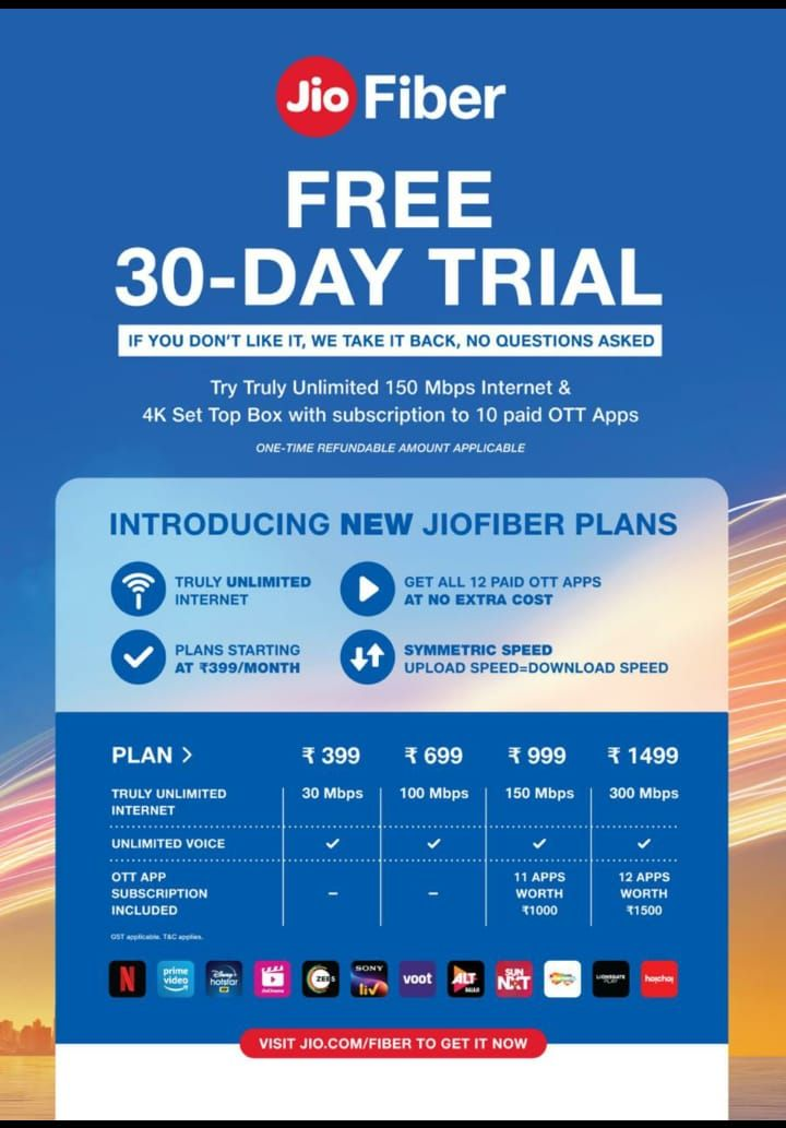 JioFiber plans now start at Rs 399