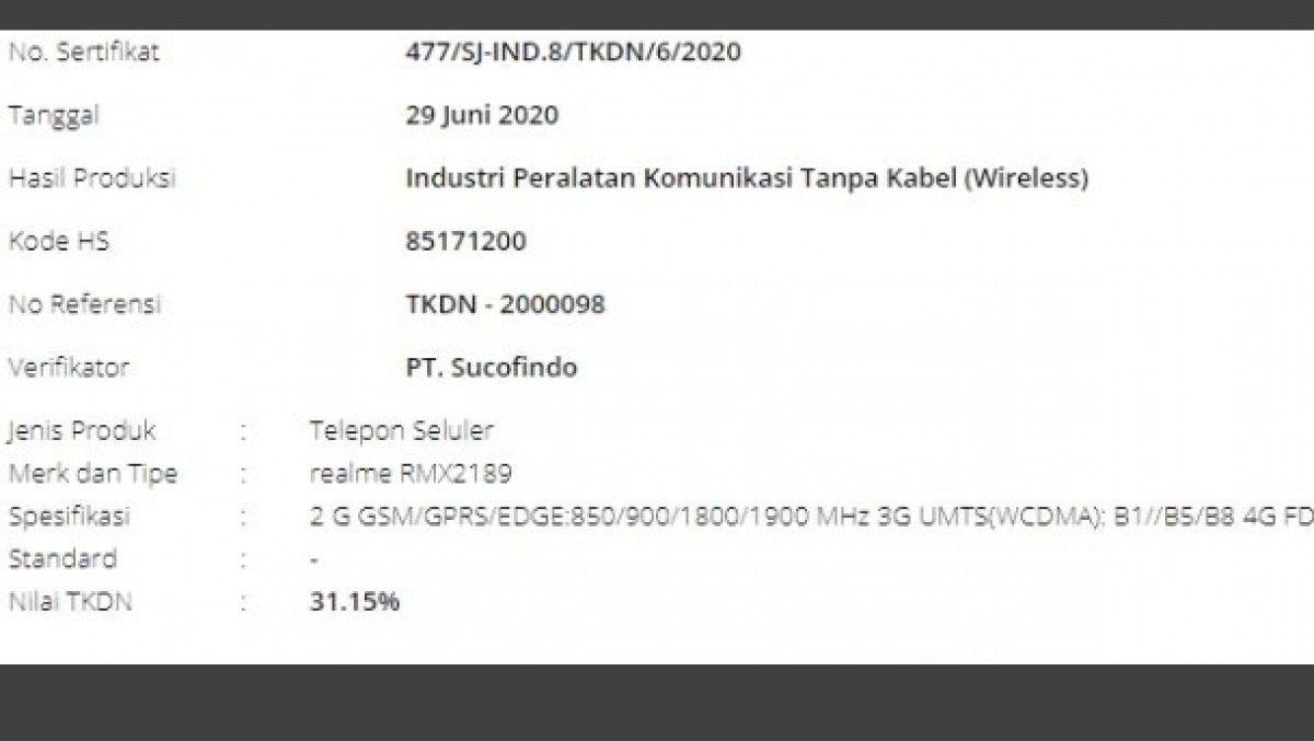 Realme C12 RMX2189 TKDN Indonesia