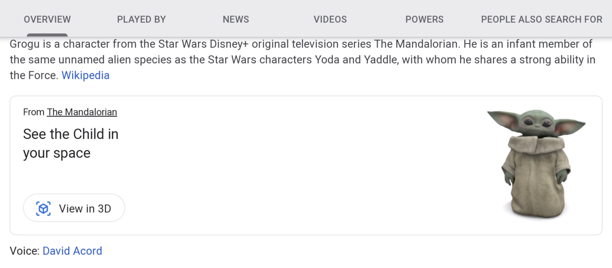 Google Search now lets you see Baby Yoda in 3D