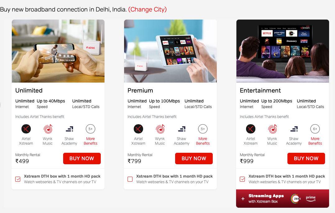 Airtel has revised the tariffs of its Xstream Fiber Broadband service in India