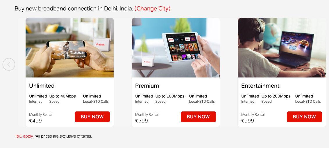 Airtel has revised the tariiffs of its Xstream Fiber Broadband service in India